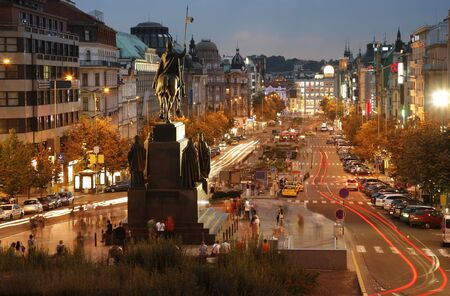 Night view of Wenceslas Square, Prague, Czech republic