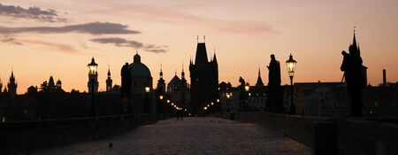 Charles Bridge in Prague at dawn, Prague, Czech Republic   photo