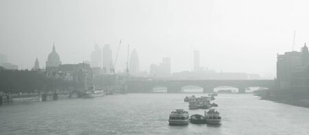 London skyline, include Blackfriars Bridge, St Pauls, Gherkin, seen from Waterloo Bridge  photo
