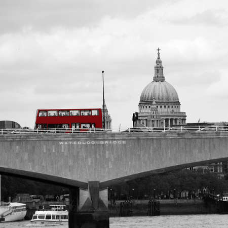 London skyline, include Waterloo Bridge, Red Double Decker Bus, seen from Victoria Embankment  photo