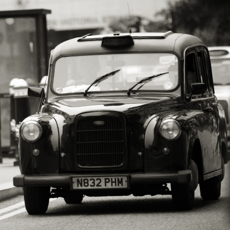 London, UK - June 14, 2012: TX4, London Taxi, also called hackney carriage, black cab. Traditionally Taxi cabs are all black in London but now produced in various colors.  Editorial