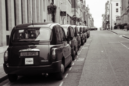 London, UK - May 5, 2012: TX4, London Taxi, also called hackney carriage, black cab. Traditionally Taxi cabs are all black in London but now produced in various colors.
