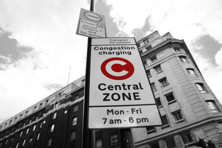 Congestion Charge Zone Sign, introduced 2003 to reduce congestion in central London and to raise funds for TfL, The standard charge is ��10 for each day Monday-Friday only.   Stock Photo - 15625602