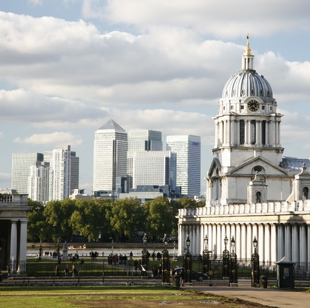 greenwich: London Skyline seen from Greenwich Park.  Stock Photo
