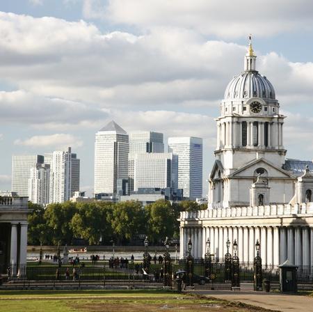 greenwich: London Skyline seen from Greenwich Park.  Stock Photo