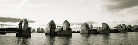 Thames Barrier, tidal protector, is the world's second largest movable flood barrier Stock Photo - 15843654