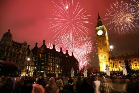 2012, Fireworks over Big Ben at midnight Stock Photo - 16308086