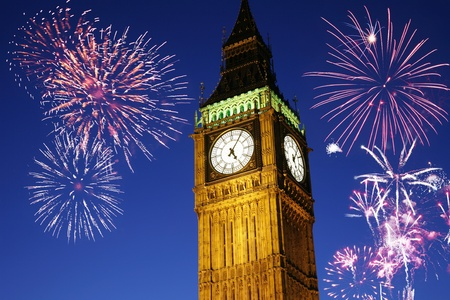 guy fawkes night: Fireworks over Big Ben seen from Pariament Square, at Night  Stock Photo