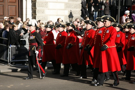 armistice: London, UK - November 11, 2012: Members of the Chelsea Pensioners take part in Remembrance Day, Poppy Day or Armistice Day, 11 every Nov, observed by Commonwealth of Nations, to remember armed forces who have died since First World War.