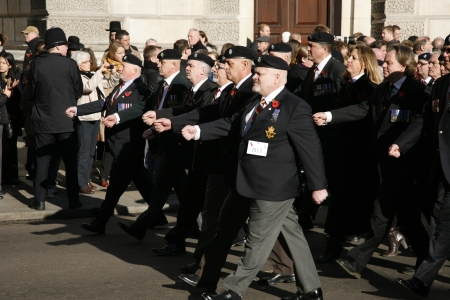 remembrance day poppy: London, UK - November 11, 2012: People take part in Remembrance Day, Poppy Day or Armistice Day, 11 every Nov, observed by Commonwealth of Nations, to remember armed forces who have died since First World War.