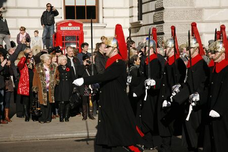 annual events: London, UK - November 11, 2012: Unidentified Regiments as part of the annual Remembrance Sunday events, Poppy Day or Armistice Day, 11 every Nov, observed by Commonwealth of Nations, to remember armed forces who have died since First World War.