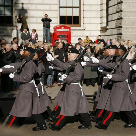 London, UK - November 11, 2012: Unidentified Regiments as part of the annual Remembrance Sunday events, Poppy Day or Armistice Day, 11 every Nov, observed by Commonwealth of Nations, to remember armed forces who have died since First World War.