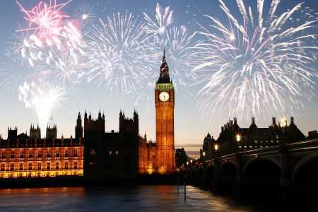 Fireworks over Big Ben seen from Parliament Square, at Night  Editorial