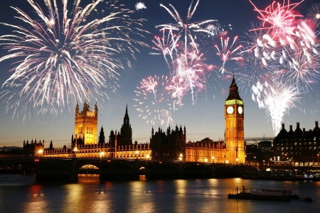 seen: Fireworks over Palace of Westminster seen from South Bank