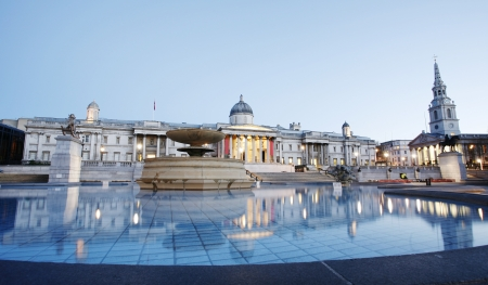National Gallery and Trafalgar Square in the early morning