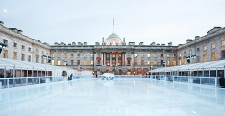 skating: Night View of Somerset House ice rink in Strand, London.