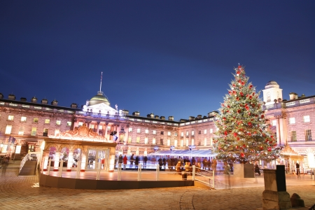 christmas in the city: Night View of Somerset House in Strand, London.    Editorial