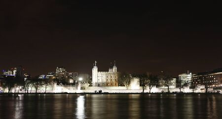 Tower of London seen from North Bank at Night  photo