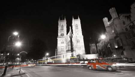 Westminster Abbey, The Great West Door and towers, seen from Tothill Street at night,  photo