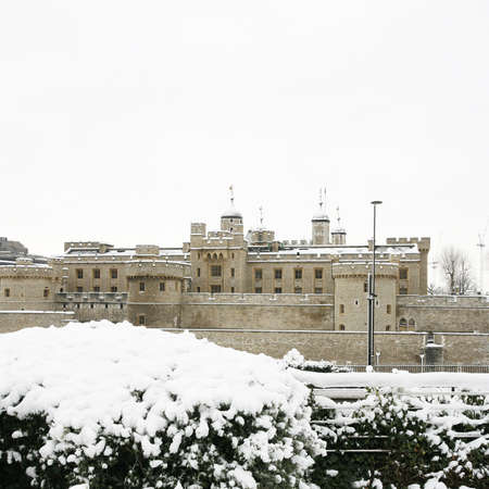 hamlets: Tower of London, Borough of Tower Hamlets, on snowy day  Stock Photo