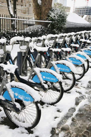 London, UK - January 21, 2013 : Londons bicycle sharing scheme, to help ease traffic congestion, sponsored by Barclays, was launched on 30 July 2010. Currently there are some 6,000 bikes and 400 docking stations in London.
