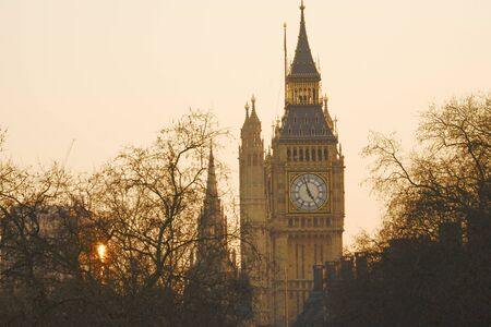 bigben: Big Ben, seen from Hungerford Bridge, Close up in the evening glow  Stock Photo