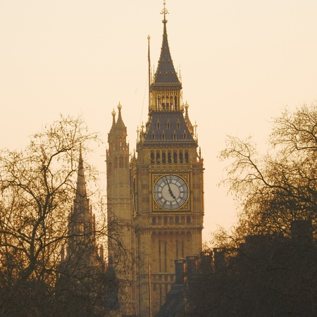 Big Ben, seen from Hungerford Bridge, Close up in the evening glow  photo