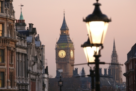 lampost: Big Ben, seen from Trafalgar Square, at Dawn  Stock Photo
