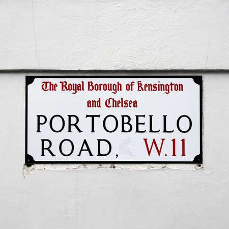 chelsea: London Street Sign, Portobello Road, Borough of Kensington and Chelsea   Stock Photo