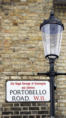 chelsea: London Street Sign, Portobello Road, Borough of Kensington and Chelsea   Stock Photo