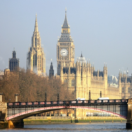 south london: London skyline, Westminster Palace, Big Ben and Central Tower, seen from South Bank
