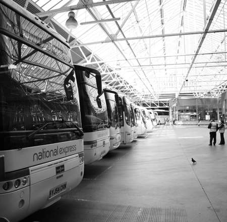 London, UK - April 21, 2010: Inside view of London Victoria Coach Station, located in Belgravia, since 1932, largest coach station in London, 10 million passengers use the station every year.