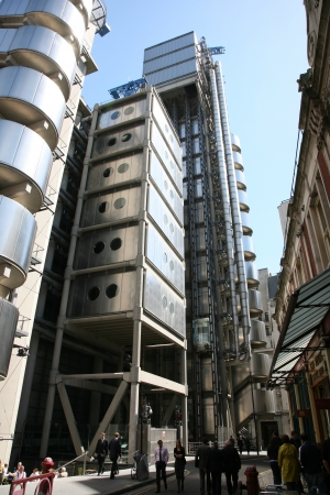 lloyds: London , UK - May 25, 2011: Outside view of Lloyds building, a skyscraper in the City of London, 95.1 metres height, 14 floors, completed in 1986, seen from pedestrian walk path.   Editorial