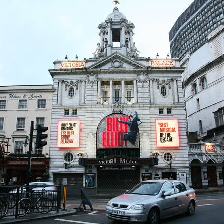 elliot: London , UK - February 27, 2011: Outside view of Victoria Palace Theatre, located on Victoria Street, City of Westminster, since 1911, designed by Frank Matcham.