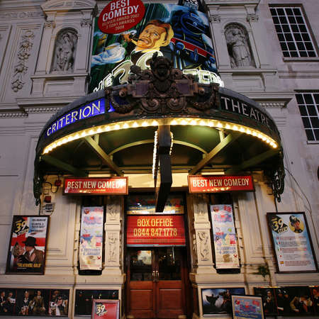 westend show: London , UK - December 11, 2012: Outside view of Criterion Theatre, West End theatre, located on Piccadilly Circus, City of Westminster, since 1874, designed by Thomas Verity, at Night.