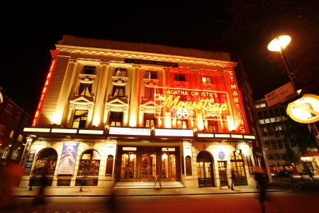 London , UK - December 11, 2012: Outside view of St Martins Theatre, West End theatre, located on West Street, Camden of London, since 1916, designed by W. G. R. Sprague, at Night.