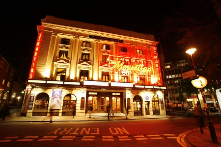 westend show: London , UK - December 11, 2012: Outside view of St Martins Theatre, West End theatre, located on West Street, Camden of London, since 1916, designed by W. G. R. Sprague, at Night.