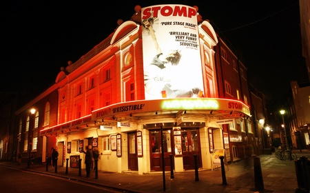 westend show: London , UK - December 11, 2012: Outside view of Ambassadors Theatre, West End theatre, located on West Street, City of Westminster, since 1913, designed by W. G. R. Sprague.