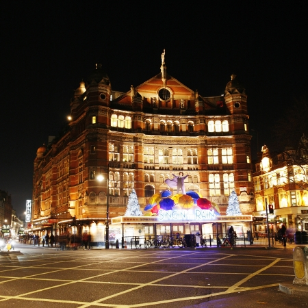 London , UK - December 11, 2012: Outside view of Palace Theatre, West End theatre, located on Cambridge Circus, City of Westminster, since 1891, designed by Thomas Edward Collcutt, at Night.