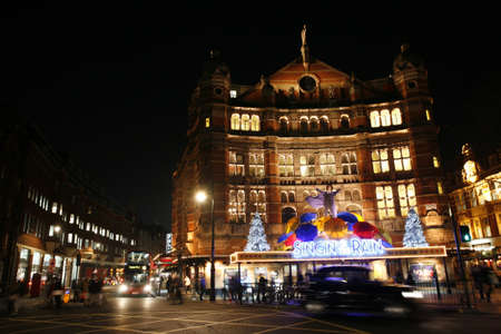 westend show: London , UK - December 11, 2012: Outside view of Palace Theatre, West End theatre, located on Cambridge Circus, City of Westminster, since 1891, designed by Thomas Edward Collcutt, at Night.
