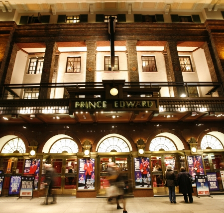 London , UK - December 11, 2012: Outside view of Prince Edward Theatre, West End theatre, located on Old Compton Street, City of Westminster, since 1930, designed by Edward Stone, at Night.
