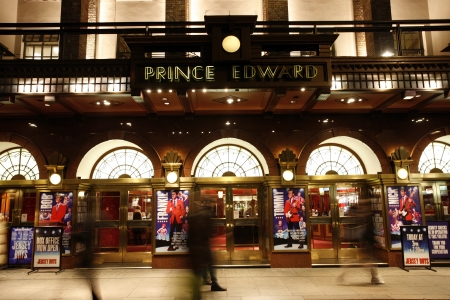 westend show: London , UK - December 11, 2012: Outside view of Prince Edward Theatre, West End theatre, located on Old Compton Street, City of Westminster, since 1930, designed by Edward Stone, at Night.