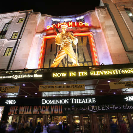 London , UK - December 11, 2012: Outside view of Dominion Theatre, located on Tottenham Court Road, Camden of London, since 1929, designed by W & TR Milburn.