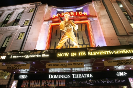 westend show: London , UK - December 11, 2012: Outside view of Dominion Theatre, located on Tottenham Court Road, Camden of London, since 1929, designed by W & TR Milburn.