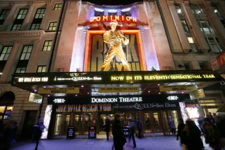 westend: London , UK - December 11, 2012: Outside view of Dominion Theatre, located on Tottenham Court Road, Camden of London, since 1929, designed by W & TR Milburn.