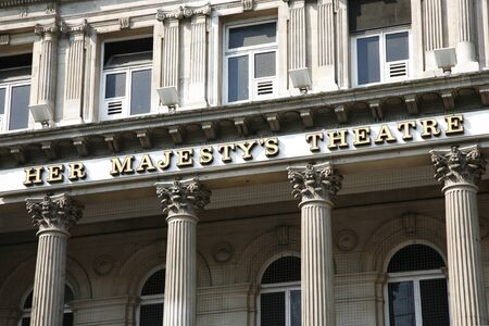 westend show: London , UK - July 26, 2012: Outside view of Her Majestys Theatre, located on Haymarket, City of Westminster, since 1705, designed by Charles J. Phipps.