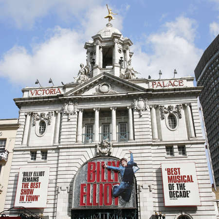 elliot: London , UK - April 15, 2012: Outside view of Victoria Palace Theatre, located on Victoria Street, City of Westminster, since 1911, designed by Frank Matcham.