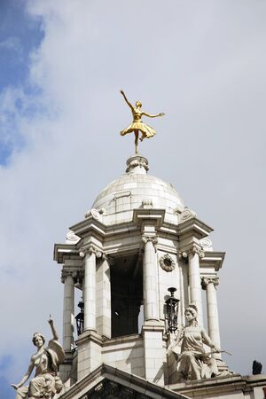 elliot: London , UK - April 15, 2012: Rooftop of Victoria Palace Theatre, located on Victoria Street, City of Westminster, since 1911, designed by Frank Matcham.