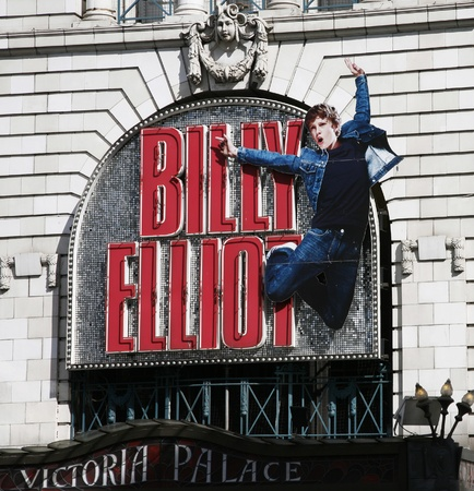 westend show: London , UK - April 15, 2012: Billy Elliot the Musical of Victoria Palace Theatre, located on Victoria Street, City of Westminster, since 1911, designed by Frank Matcham.