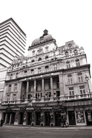 westend show: London , UK - May 06, 2012: Outside view of Her Majestys Theatre, located on Haymarket, City of Westminster, since 1705, designed by Charles J. Phipps.